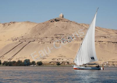 Felouque, bateau à voile remontant le Nil