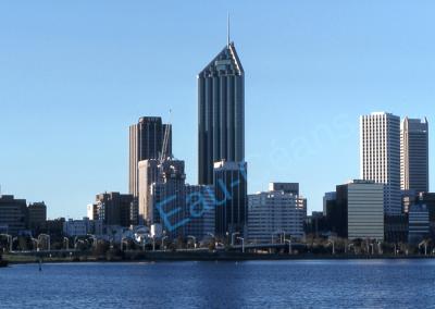 Vue des gratte-ciel de Perth, ville du sud-ouest de l'Australie