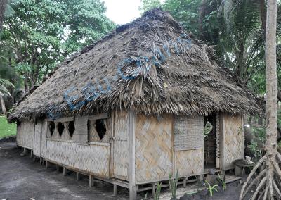 Maison traditionnelle en bambou et feuilles de palmier (photo A.-M. Lejeune)