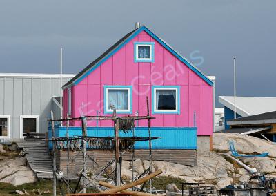 Une maison rose à Ilulissat