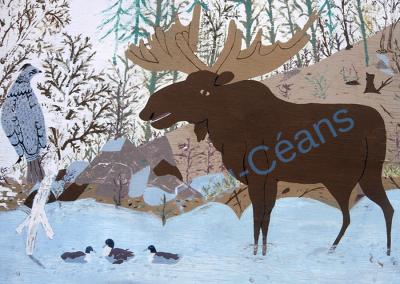 Représentation de quelques éléments typiques de la faune canadienne